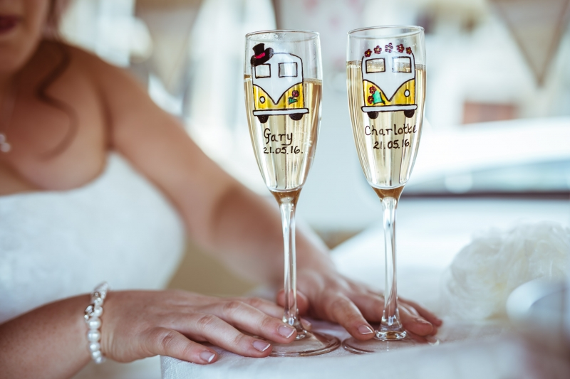 VW Campervan Personalised Champagne Flutes for Weddings