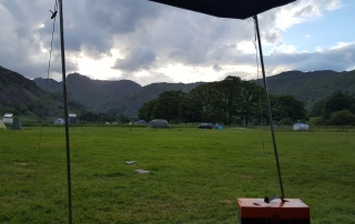 In tent at baysbrown farm (chapel stile) campsite