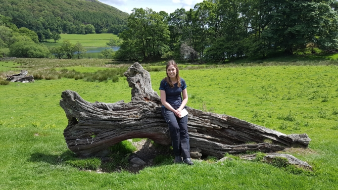 Sitting on an old Log on Lake District Walk