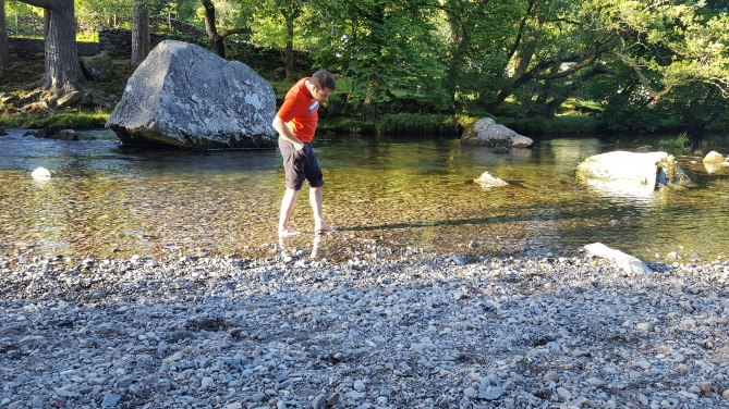 Walking in the river at Chapel Stile