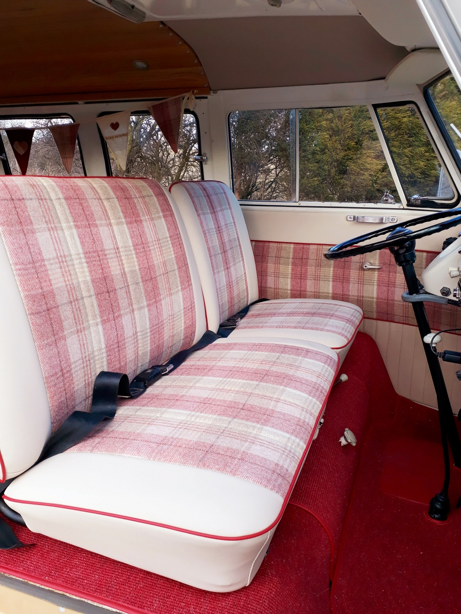 Front cab seats and carpet of my Splitscreen Campervan re-upholstered by Bromsgrove Auto Trimmers