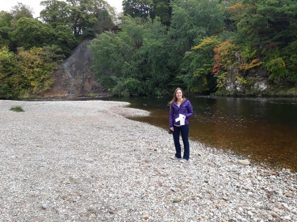 Bolton Priory Beach with Julie beside the river