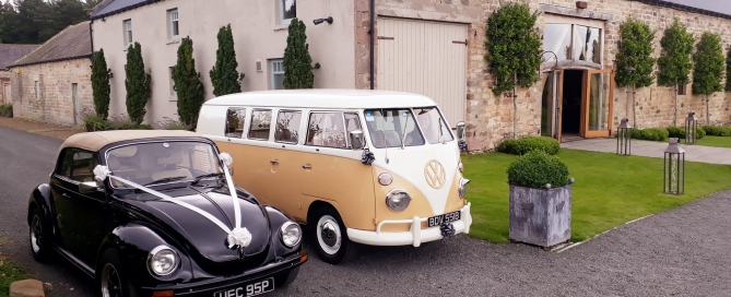 Campervan and Beetle outside of Healey Barn