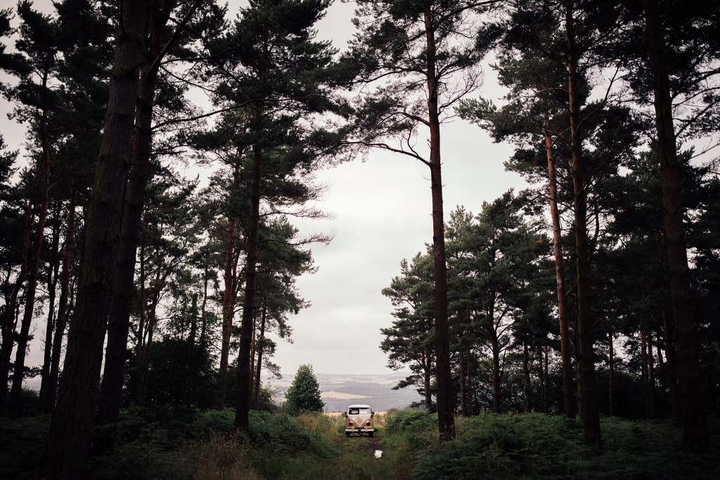 Campervan in a forest at Riding Mill