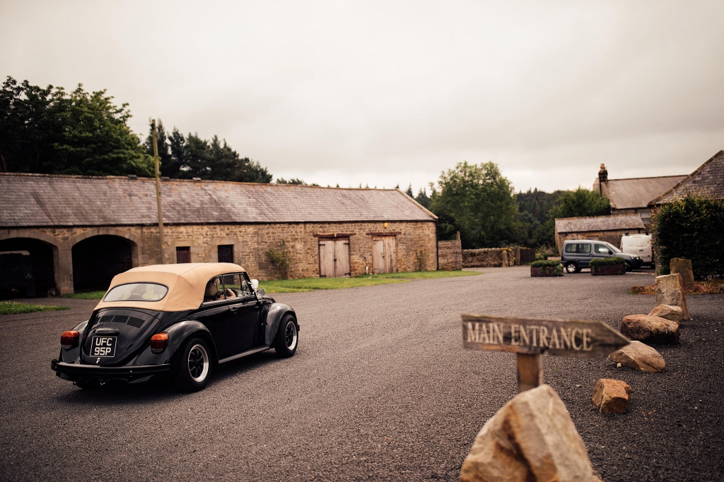 VW Beetle makes an entrance at Healey Barn, Riding Mill