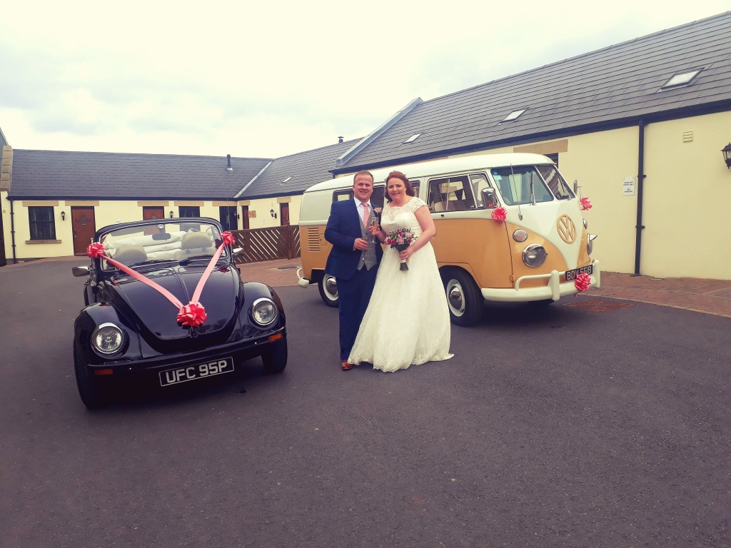 Beetle and Camper outside of The South Causey Inn with Bride and Groom