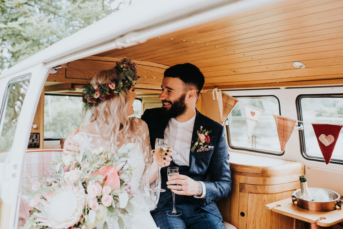 just married and drinking champagne in a cool volkswagen @wylambrewery