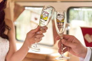 Personalised Champagne Flutes with little VW's Painted on