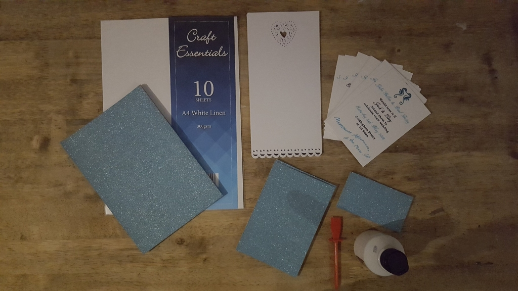 Wedding Invitation Craft Materials Including Blank Invites, White & Blue Glitter Card & Glue