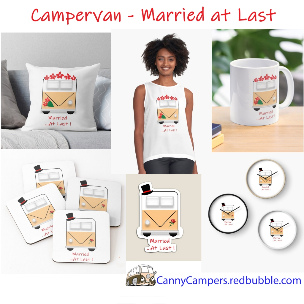 Cute Female Campervan Products with the slogan 'Married at Last'