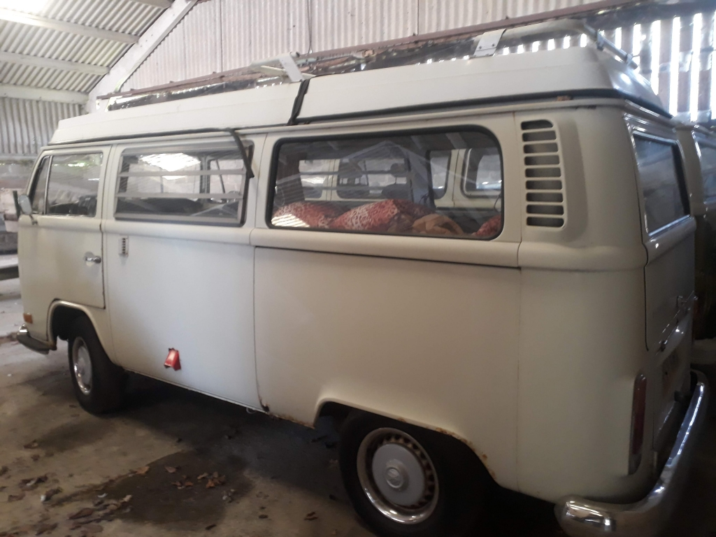 1972 Westfalia Bay Campervan before restoration, this is the side view