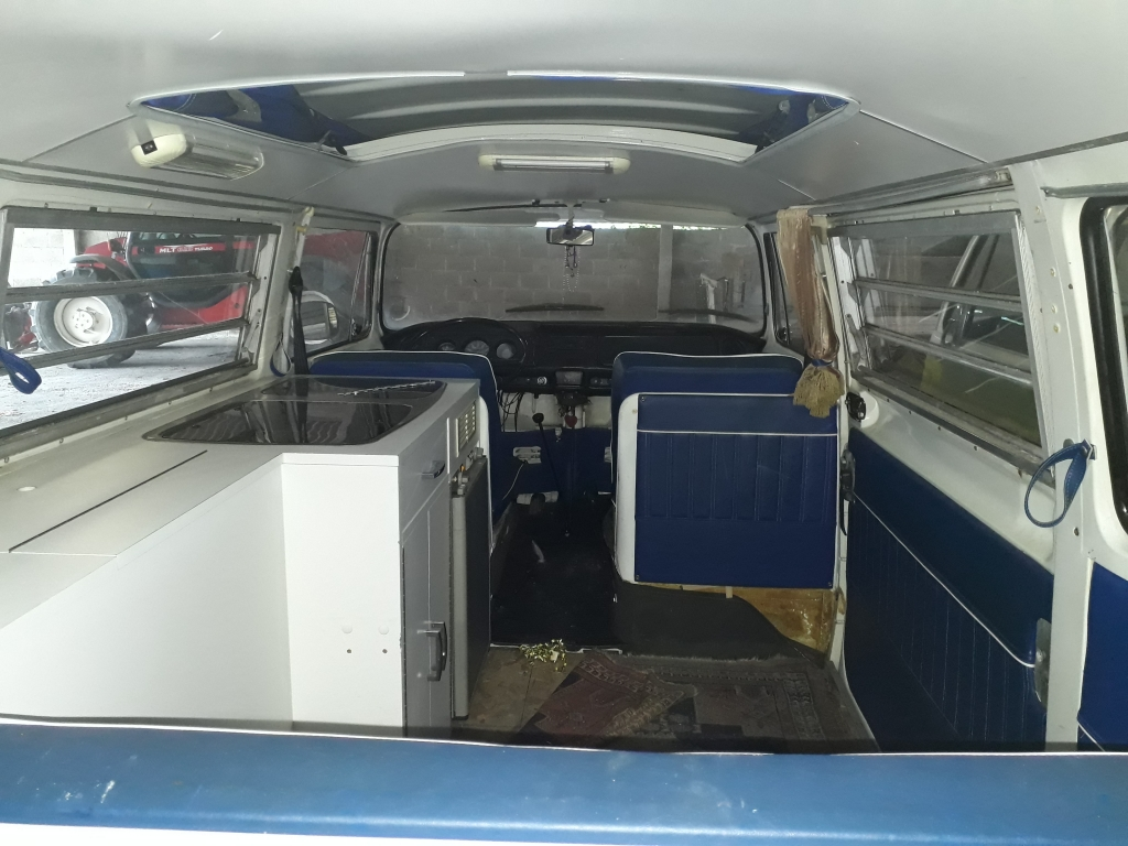 Interior of the VW Bay Window Camper before restoration